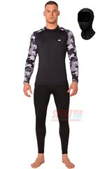 Термобельё мужское спортивное Rough Radical Military Black, комплект с балаклавой, чёрный, тёплый