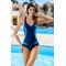 Фото 2 Сдельный спортивный купальник для бассейна и спорта Aqua Speed Greta, темно-синий с голубыми вставками