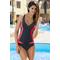 Фото 8 Сдельный спортивный купальник Aqua Speed Greta, черный с красными вставками