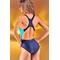 Фото 2 Сдельный спортивный купальник Katrin S-1-navyblue, темно-синий с полосками