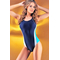 Сдельный спортивный купальник Katrin S-1-navyblue, темно-синий с полосками