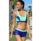 Фото 4 Спортивный раздельный купальник для бассейна Aqua Speed Fiona, топ и шортики, синий с голубым