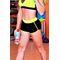 Фото 2  Спортивные женские шорты Totalfit H11-C1, черные с желтым