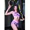 Фото 3  Женские шорты для фитнеса Totalfit H11-P23, розовые с сиреневым рисунком