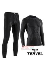 Комплект спортивного мужского термобелья Tervel Comfortline бесшовное, зональное, черный
