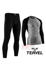 Комплект спортивного мужского термобелья Tervel Comfortline бесшовное, зональное, серый+чёрный