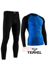 Комплект спортивного мужского термобелья Tervel Comfortline бесшовное, зональное, синий+чёрный