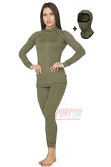 Комплект женского повседневного теплого термобелья Rough Radical Hunter с балаклавой, хаки