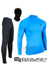 Спортивный комплект термобелья Radical Acres тёплый мужской с балаклавой, голубой с чёрным