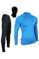Фото 4 Спортивный комплект термобелья Radical Acres тёплый мужской с балаклавой, голубой с чёрным