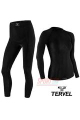 Термобельё спортивное женское Tervel Comfortline комплект, бесшовное зональное, черный